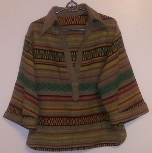 Tops - Vintage ILGWU Oversize Collared Hippie Tunic Shirt